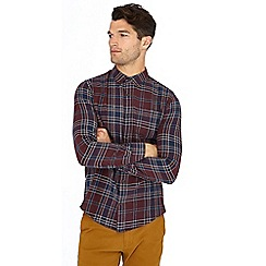 Red Herring - Wine check print long sleeve slim fit shirt