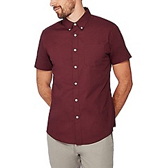 Red Herring - Maroon cotton short sleeve sleeve slim fit shirt