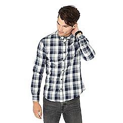 Red Herring - Navy check print long sleeve slim fit shirt