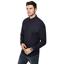 Red Herring - Navy dobby textured long sleeve slim fit shirt