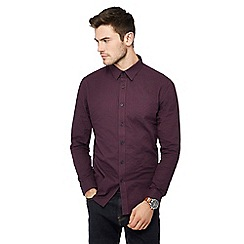 Red Herring - Wine herringbone gingham check long sleeve slim fit shirt