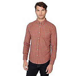 Red Herring - Orange check print long sleeve regular fit shirt