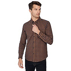 Red Herring - Big and tall mustard check print long sleeve regular fit shirt