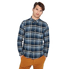 Red Herring - Big and tall navy large check print long sleeve slim fit shirt