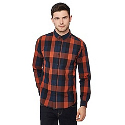 Red Herring - Orange gingham print long sleeve slim fit shirt