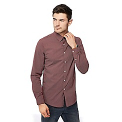 Red Herring - Wine diamond print long sleeve slim fit shirt