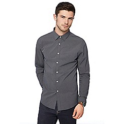 Red Herring - Navy diamond print long sleeve slim fit shirt