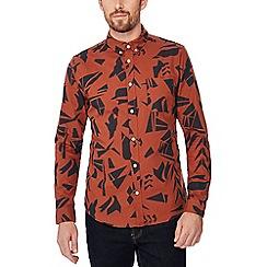Red Herring - Orange printed long sleeve slim fit Oxford shirt