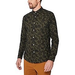 Red Herring - Khaki printed long sleeve slim fit Oxford shirt