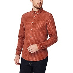 Red Herring - Big and tall orange printed long sleeve slim fit Oxford shirt