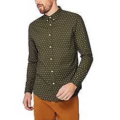 Red Herring - Big and tall khaki printed long sleeve slim fit Oxford shirt