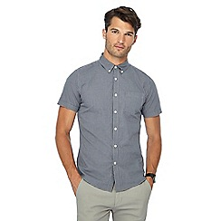 Red Herring - Navy gingham check short sleeve slim fit shirt