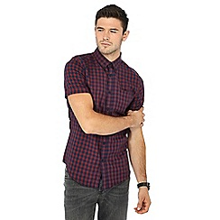 Red Herring - Big and tall red checked short sleeve slim fit shirt