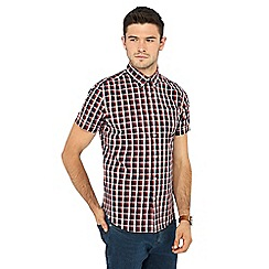 Red Herring - Big and tall multicoloured checked short sleeve slim fit shirt