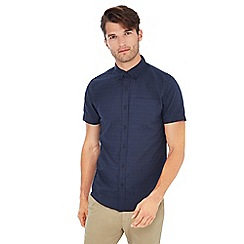 Red Herring - Navy textured short sleeve slim fit shirt