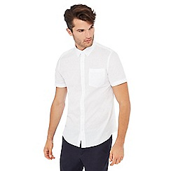 Red Herring - White textured short sleeve slim fit shirt