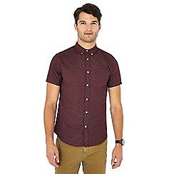 Red Herring - Wine printed short sleeve slim fit Oxford shirt