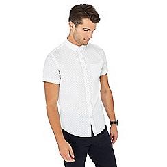 Red Herring - White dot print short sleeve slim fit Oxford shirt