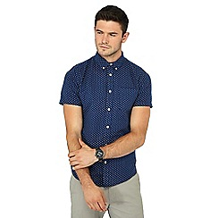 Red Herring - Big and tall navy printed short sleeve slim fit oxford shirt