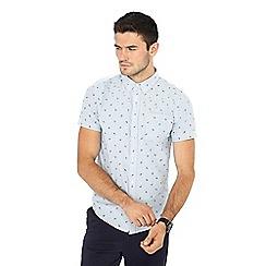 Red Herring - Blue striped paisley print short sleeve slim fit Oxford shirt