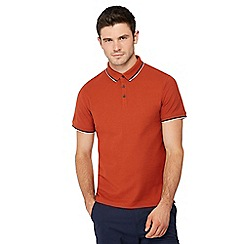 Red Herring - Big and tall dark orange tipped collar polo shirt