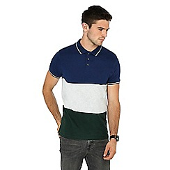 Red Herring - Big and tall navy colour block striped print polo shirt