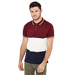 Red Herring - Dark red colour block striped print polo shirt