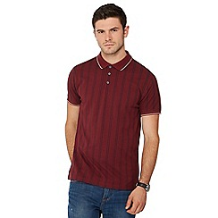 Racing Green - Big and tall dark red vertical stripe polo shirt