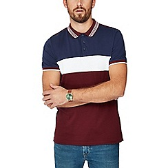 Red Herring - Dark red cut and sew slim fit polo shirt
