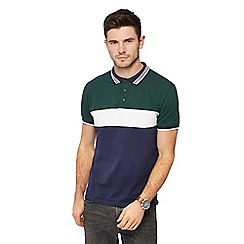Red Herring - Dark green cut and sew slim fit polo shirt