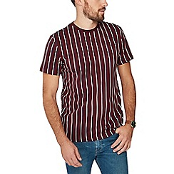Red Herring - Big and tall dark red vertical stripe slim fit t-shirt