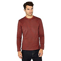 Red Herring - Big and tall orange stripe print long sleeve cotton slim fit top