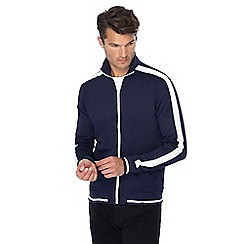 Threadbare - Navy arm stripe funnel neck track jacket