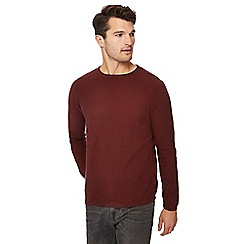 Red Herring - Wine seed stitch crew neck jumper