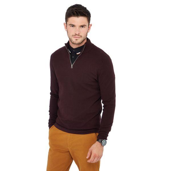 Red Herring - Maroon zip neck jumper