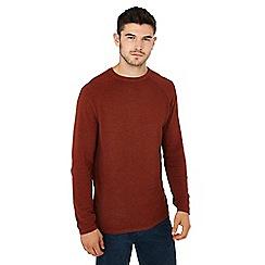 Red Herring - Big and tall dark orange link knit crew neck cotton jumper