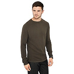 Red Herring - Khaki link knit crew neck jumper