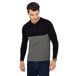 Red Herring - Black colour block long sleeve polo shirt