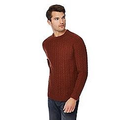 Red Herring - Big and tall dark orange chevron knit jumper with wool