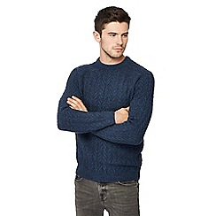 Red Herring - Big and tall blue chevron knit jumper with wool