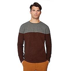 Red Herring - Big and tall dark orange colour block jumper