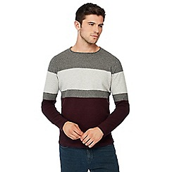 Red Herring - Maroon colour block cotton jumper