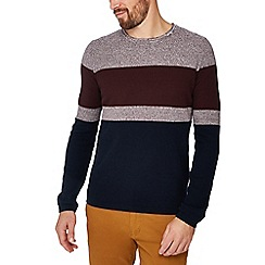 Red Herring - Navy colour block cotton jumper