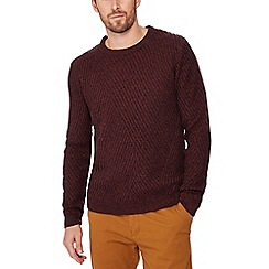 Red Herring - Wine red asymmetric knit jumper with wool
