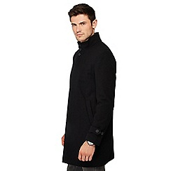 Red Herring - Black funnel neck wool blend Epsom coat