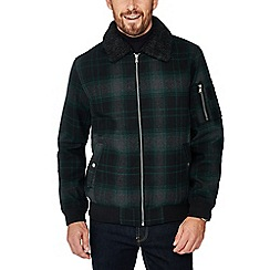 Red Herring - Green borg collar tartan check flight jacket with wool