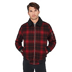 Red Herring - Red borg collar tartan check flight jacket with wool