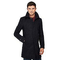 Red Herring - Navy wool blend collared Epsom coat