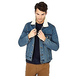 Red Herring - Blue denim borg collar jacket