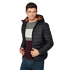 Red Herring - Big and tall black hooded padded jacket
